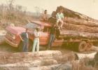 Caminhão carregado de madeiras em toras